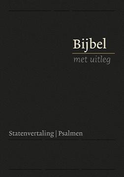 Bijbel met uitleg, klein formaat, 14 x 20 cm, flexibele band in cassette, goudsnede, zwart