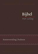 Bijbel met uitleg, klein formaat, 14 x 20 cm, flexibele band in cassette, goudsnede, bruin