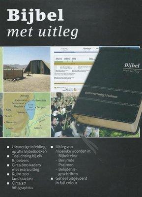 Bijbel met uitleg, midden formaat, 17 x 24 cm, flexibele band in luxe doos, goudsnede, zwart
