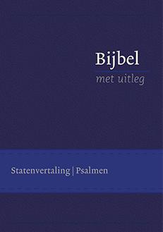Bijbel met uitleg, klein formaat, 14 x 20 cm, flexibele band in cassette, goudsnede, blauw