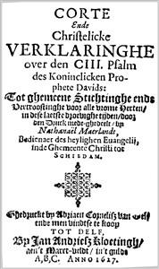 Nathanael Maerlandt   Corte en Christelicke Verklaringhe